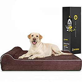 7-inch Thick High Grade Orthopedic Memory Foam Dog Bed With Pillow and Easy to Wash Removable Cover with Anti-Slip Bottom. Free Waterproof Liner Included – JUMBO XL for Large Dogs