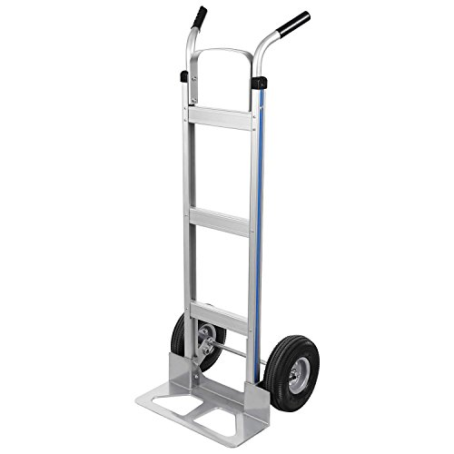 Kaluo 500lbs Heavy Duty Multifunction Aluminum Hand Trucks with 2 Pneumatic Tires Dolly and Double Pistol Grip Handle (US Stock) (Silver) ()