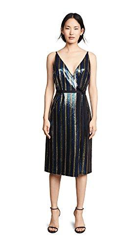 Robert Rodriguez Women's Sequin Wrap Dress, Emerald Stripe, Small