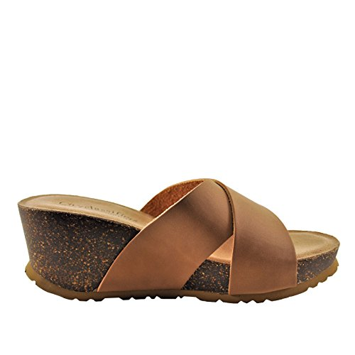 i Women's Crisscross Platform Cork Wedge (8, Tan) ()