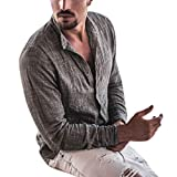 Allywit Hawaiian Style Mens Linen Hippie Shirts Casual Button Up Long Sleeve Loose Fit Beach Shirts Gray