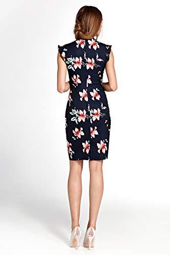 den an Blumen Rüschen Kleid Schultern mit Nife Marineblau qtUvIwZn