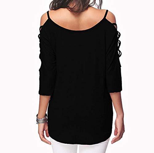 Manches Shirt Manche Femme Femme Chic Chemisier Femme vid Demi Levadis Sweat Batwing Longue Mode Casual Femme Froides Body Femmes Femme Black Blouse Blouse Polo Veste paules Haut axR8q