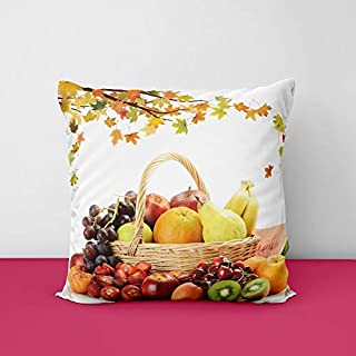 41UjQr9 CfL. SS320 Basket Fruit Square Design Printed Cushion Cover
