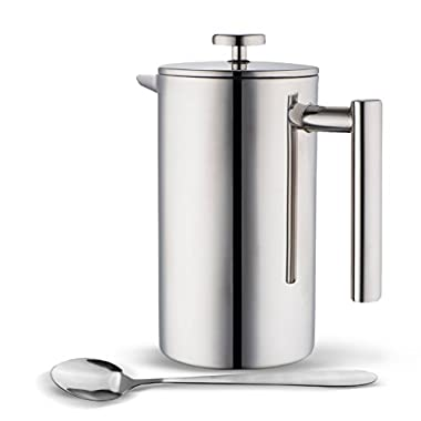 MIRA Stainless Steel French Press Coffee Tea Brewer Double Wall 1 Liter 34 Ounces with Bonus Long Spoon