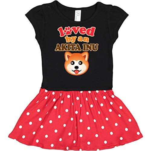 inktastic - Akita Inu Infant Dress 6 Months Black & Red with Polka Dots 2f3cd