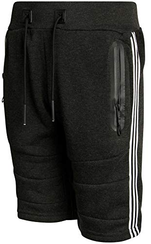 XS Sport Boys Fleece Athletic Short with Zipper Pockets, Charcoal/Stripe Panel, Size Small'