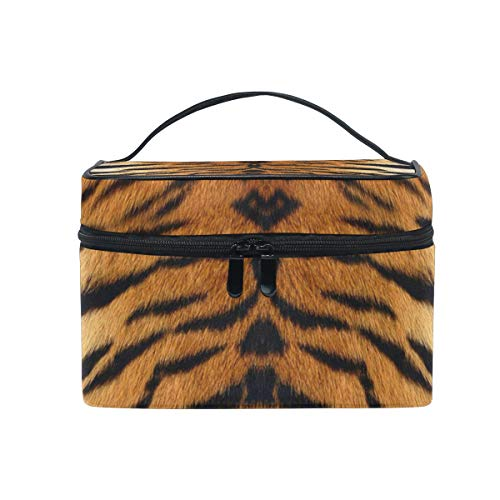Cutexl Cosmetic Bag African Animal Tiger Print Large Makeup Brush Box Portable Travel Train Case Organizer for Women Lady -
