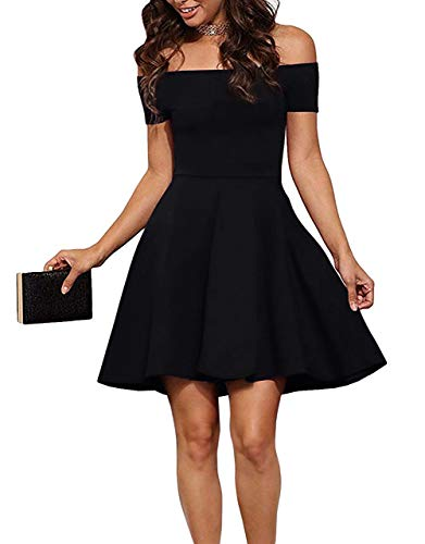 Sarin Mathews Womens Off The Shoulder Dress Short Sleeve Sexy Homecoming Summer Cocktail Party Skater Dresses Black S