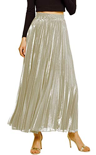 Chartou Women's Premium Metallic Shiny Shimmer Accordion Pleated Long Maxi Skirt (Large, Champaign)