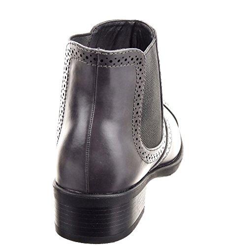 Sopily - Scarpe da Moda Stivaletti - Scarponcini Chelsea Boots Low boots alla caviglia donna Perforato Tacco a blocco 3.5 CM - Taupe