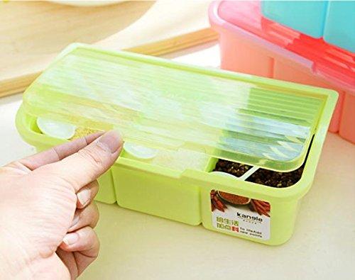 GuiXinWeiHeng 5pcs Plastic seasoning box set transparent clamshell flavoring bottles(color random) , 3 green by GuiXinWeiHeng