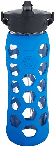 Lifefactory 22-Ounce BPA-Free Glass Water Bottle with Straw Cap and Protective Silicone Hex Sleeve, Ocean