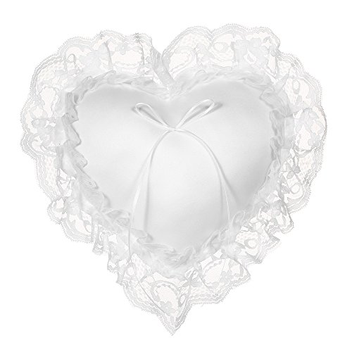 Decdeal White Lace Satin Heart Wedding Ring Bearer Pillow 7 x 7 ()