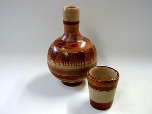 Mexican Clay Water Jug with Cup Traditional Botellon Garrafon