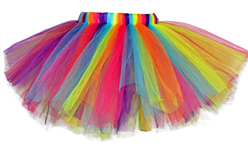 Aivtalk Girls Colorful Rianbow Tutu Short Skirt Party Dress Up Tulle Skirt for 8-10 T Girls (Blue)