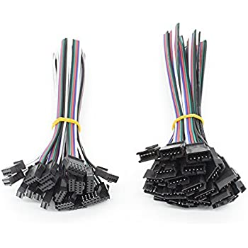 Amazon.com: Electop 5 Pin JST SM Wire (5 Pairs) RGBW LED Plug ...