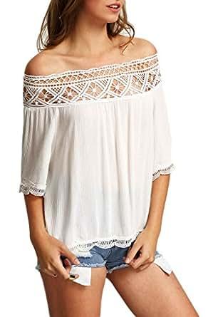 Minetom Blusa Camiseta Casual Elegante Hueco Cuello Campesino Barco Manga Corta para Mujer Blanco ES 34