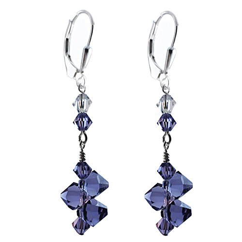 Top Drilled Tanzanite Colored Earrings made with Swarovski Crystal elements, Sterling Silver Lever-back
