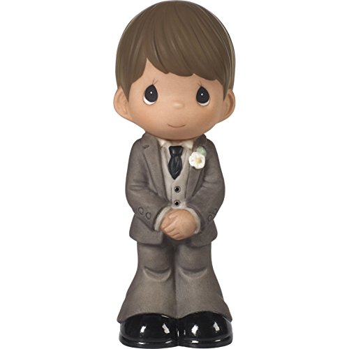 Precious Moments Perfect Couple Groom, Brown Hair With Medium Skin Tone Bisque Porcelain Wedding Figurine & Cake Topper, 172066 ()