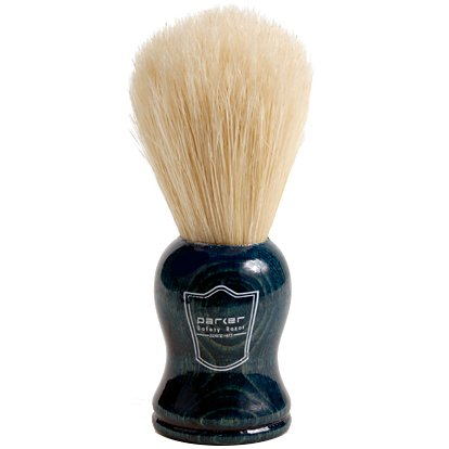 Parker Safety Razor 100% Natural Boar Bristle Shaving brush with Blue Wood Handle & Free Shaving Brush Stand