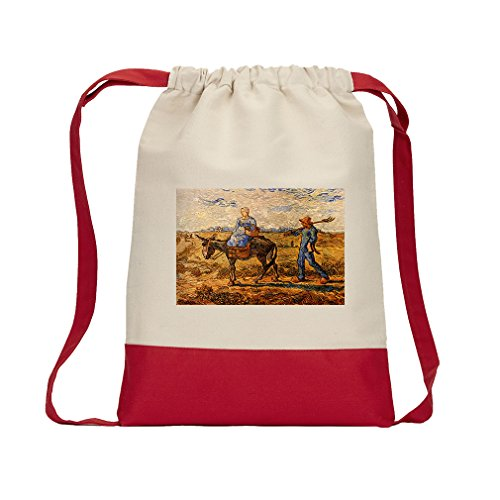 Morning Peasant Couple Work (Van Gogh) Canvas Backpack Color Drawstring - Red by Style in Print