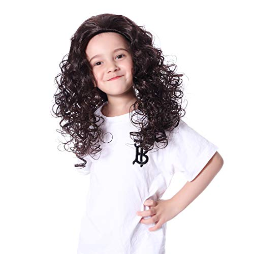 Black Curly Wig for Kids Girls Costume Wigs for Cosplay Disney Moana Wig -