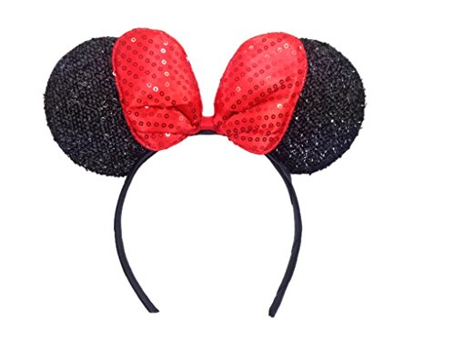 MeeTHan Minnie Mouse Ears Black Headbands: M4 (Sparking-Black)