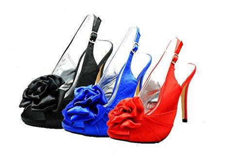 Señoras roseta peep toe honda espalda dama de honor / zapatos del partido satén marfil