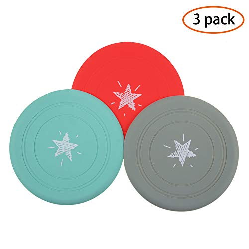 - AIFUSI Dog Flying Disc Natural Rubber Dog Frisbee Saucer Puppy Launchers for Outdoor Indoor Training Dog Tool 3 Pack Multiple Colors