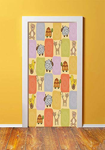(Nursery 3D Door Sticker Wall Decals Mural Wallpaper,Toys and Animals in a Checkered Background Teddy Bears Sheep Cats Duck Toys Decorative,DIY Art Home Decor Poster Decoration 30.3x78.6634,Tan Multico)