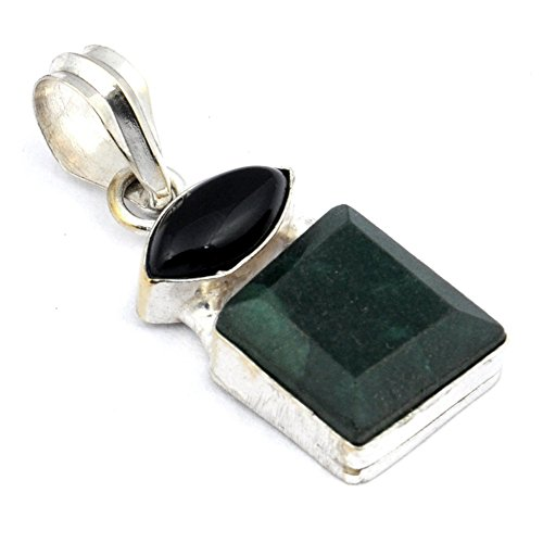 Exotic! Handmade Jewelry! Dyed Emerald+Black Onyx Sterling Silver Overlay Pendant 1.5