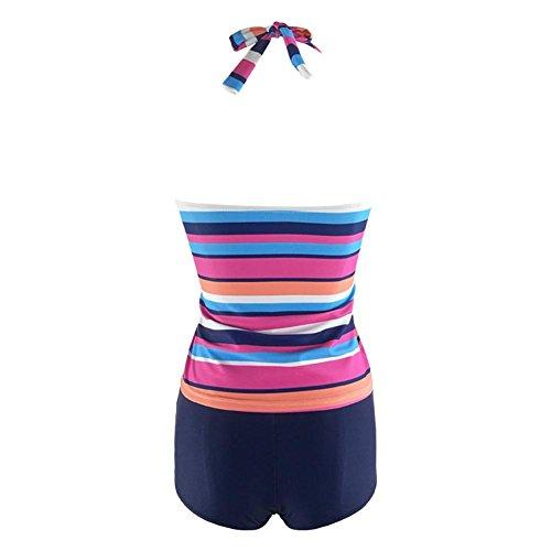 Nueva franja impresa Split trajes de baño de tamaño grande bikini Pink
