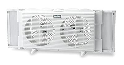Air King 9137 Twin Table Window Fan With EZ Click Exper Panels