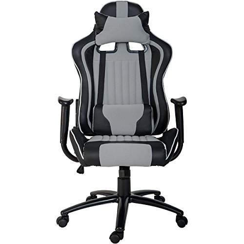 ModernLuxe Odyssey Series Executive Gaming Chair with Adjustable Lumbar Support and Headrest in Soft PU Leather and Mesh Fabric (Grey) by ModernLuxe