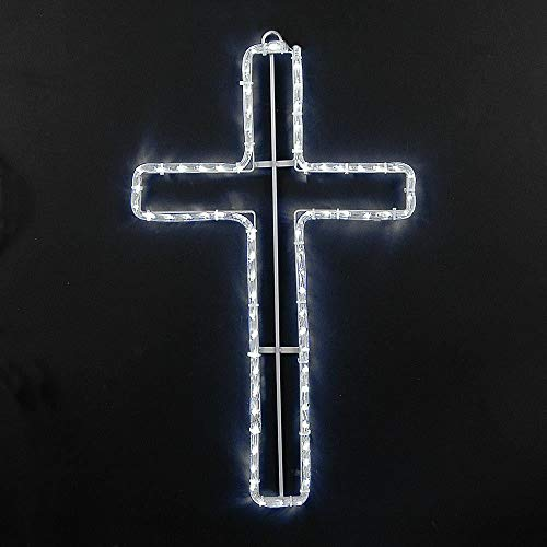 - Novelty Lights LED Pure White Christian Cross Rope Light Motif Sculpture, Christian Religion Decorations