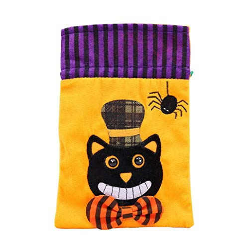 Halloween Tote Bags, SUJING Party Favor Bag Drawstring Bags Giveaway Gift Bags, Goodie Bags, Treat Bags Party Supplies (A) -