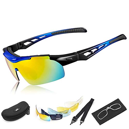 (HiHiLL Polarized Sports Sunglasses for Men Women, Driving Sun Glasses with 5 Interchangeable Nylon Lens and Unbreakable PC Injection Frame with Rubber Mats for Cycling, Climbing, Sports, Driving)