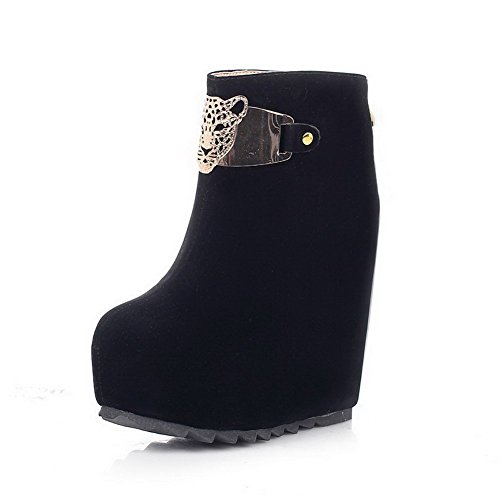 AmoonyFashion Womens Round-Toe Closed-Toe High-Heels Boots With Metaland Platform Black cBTg3qP