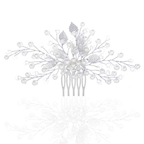 Unicra Wedding Leaf Decorative Hair Comb Bridal Hair Accessories with Pure Bead for Brides and Bridesmaids (Silver)