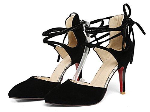 YE Damen High Heels Pumps mit Schnürung Geschlossen Spitze und 8cm Absatz Modern Party Schuhe Schwarz