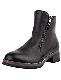 Zoulee Women's Double Zipper Cowhide Short Boots Martin boots Ankle Boots