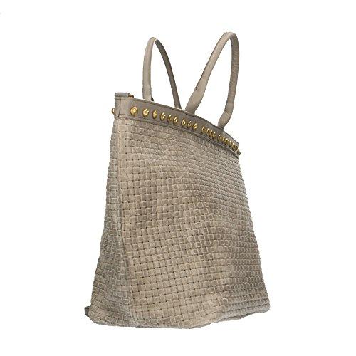 en Made cuir in Borse 53x34x20 tressé véritable main cuir Gris Cm en à Chicca Sac bandoulière Italy imprimé avec qPE4Wn