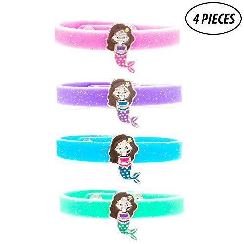FROG SAC 4 Pcs Mermaid Charm Glitter Silicone Snap Bracelets for Girls - Great Themed Birthday Party Favors for Tween Girl Easter Basket Fillers for Kids]()
