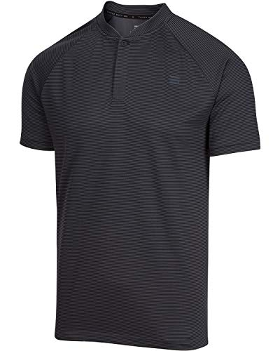 Three Sixty Six Collarless Golf Shirts for Men - Men's Casual Dry Fit Short Sleeve Polo, Lightweight and Breathable Charcoal