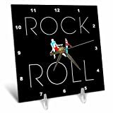 3dRose Alexis Design - Dance - Rock and roll text and two dancing colorful couples on black - 6x6 Desk Clock (dc_272514_1)