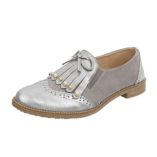 Grau Design Halbschuhe 2842 Ital Slipper Damenschuhe Silber Blockabsatz vOw77XqyxB