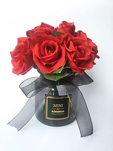 Fresh home Artificial flowers Artificial flower Artificial red rose Fake flower Silk Rose Bouquet With Vase For Wedding Proposal home decoration The Gift for her