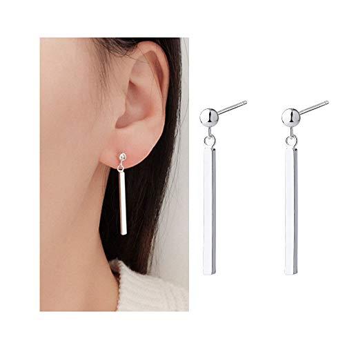 (JczR.Y Minimalist Long Bar Dangle Stud Earrings Simple Gold Silver Plated Thin Stick Drop Earrings for Women Girls Fashion Jewelry(D:Bar))