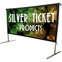 "STO-169225 Silver Ticket Indoor/Outdoor 225"" Diagonal 16:9 4K Ultra HD Ready HDTV Movie Projector Screen Front Projection White Material with Black Back (STO 16:9, 225)"